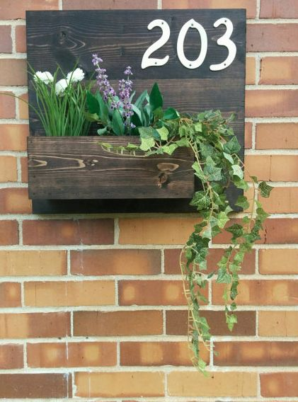 such a cute address plaque planter