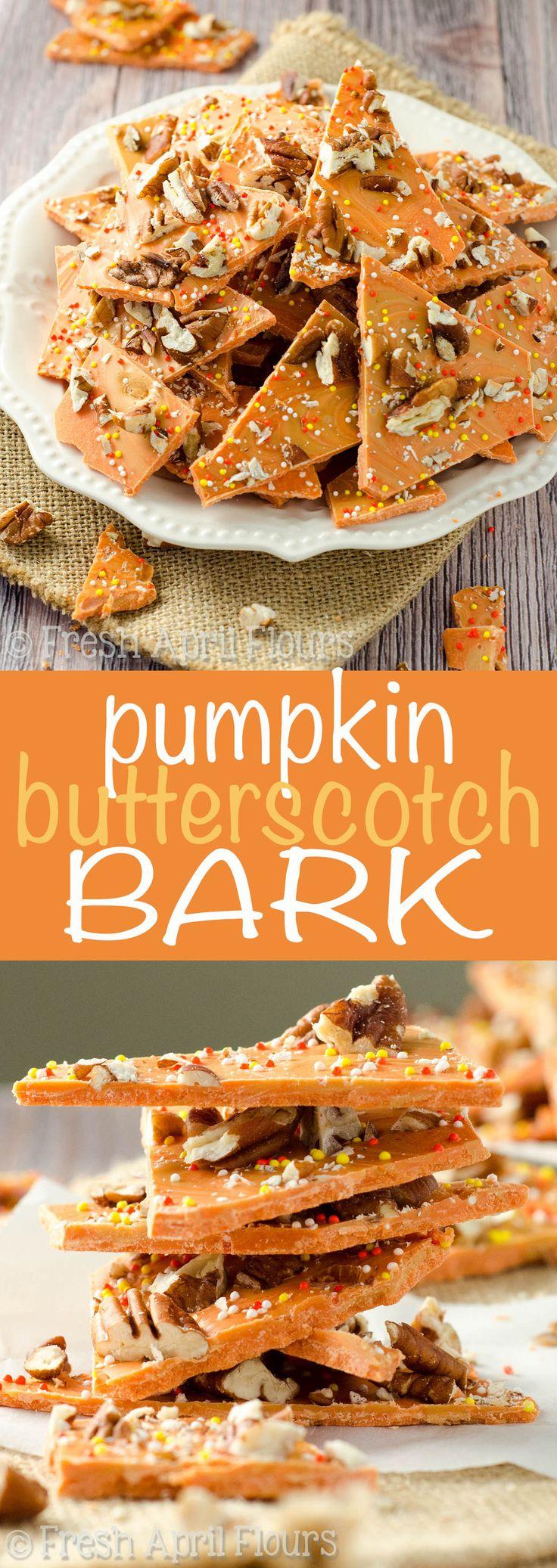 Pumpkin Butterscotch Bark: An easy bark made with pumpkin spice candy melts…