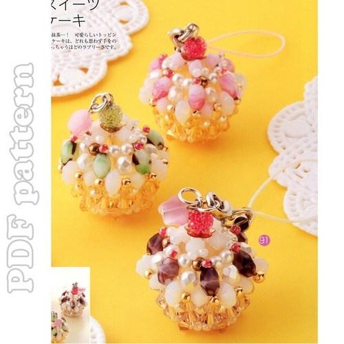 Cupcake 3D beading Swarovski Beads pattern PDF
