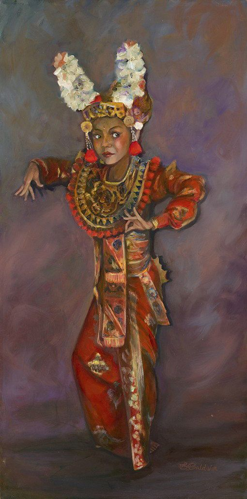 """Oil Painting """"Bali Dancer"""" Oil painting inspired by the everyday beauty of life in Bali, Indonesia. on Etsy, $1,195.00"""