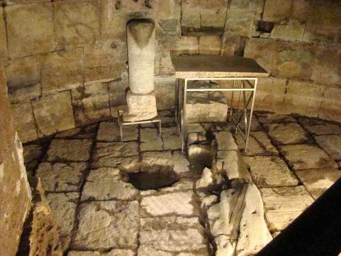 The jail cell of St Peter and Paul before their executions. They baptized fellow prisoners and their guards here. Located underground at the mermitime museum near the roman forum over 2500 years old, it was perhaps originally a sistern. Said to be the place where Paul wrote his letters to the Ephesians.  Take a container to take water from the adjacent holy spring, thought to be the source of the baptism water for the jailers.