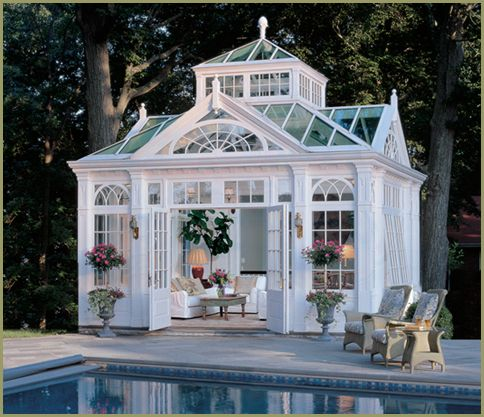 All the other little garden houses will be jealous of this one!Guest House, Pools House, Dreams House, Greenhouses, Pool Houses, Gardens, Green House, Dreams Pools, Glasses House