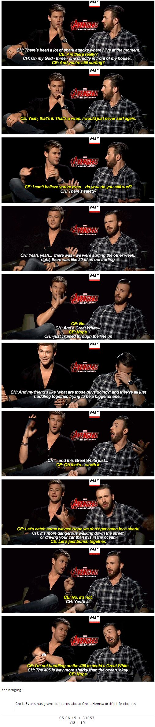 Chris Evans has grave concerns about Chris Hemsworth's life choices | THESE TWO.