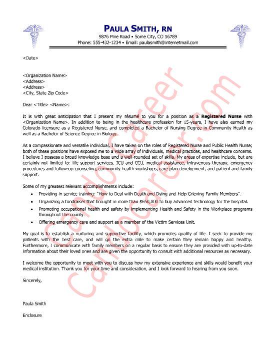 Nursing Cover Letter Examples | Nursing Cover Letter Samples
