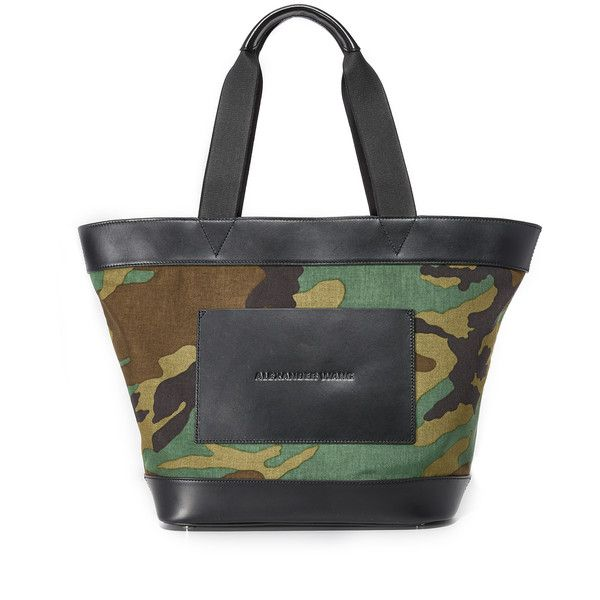 Alexander Wang Large Canvas Tote ($460) ❤ liked on Polyvore featuring bags, handbags, tote bags, camo, canvas tote bags, alexander wang tote, handbags totes, camo tote bag and camouflage tote