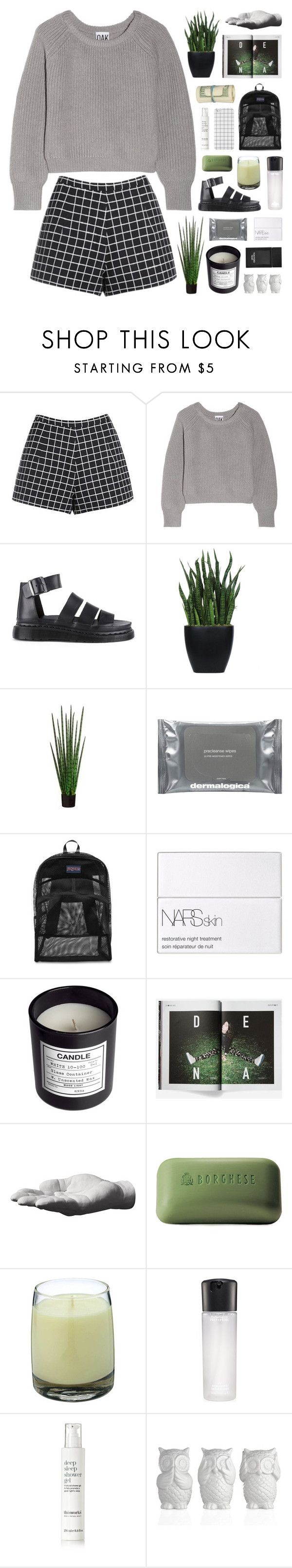 """""""Izzy"""" by novalikarida ❤ liked on Polyvore featuring Oak, Dr. Martens, Lux-Art Silks, Dermalogica, JanSport, NARS Cosmetics, H&M, Carhartt, Harry Allen and Borghese"""
