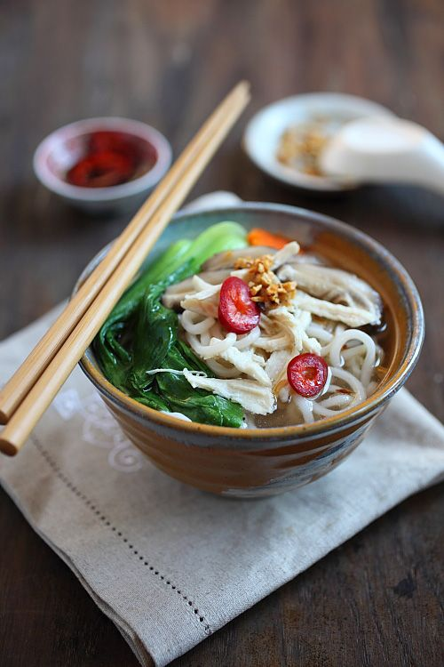 Chinese Chicken Noodle Soup Recipe | Easy Asian Recipes http://rasamalaysia.com
