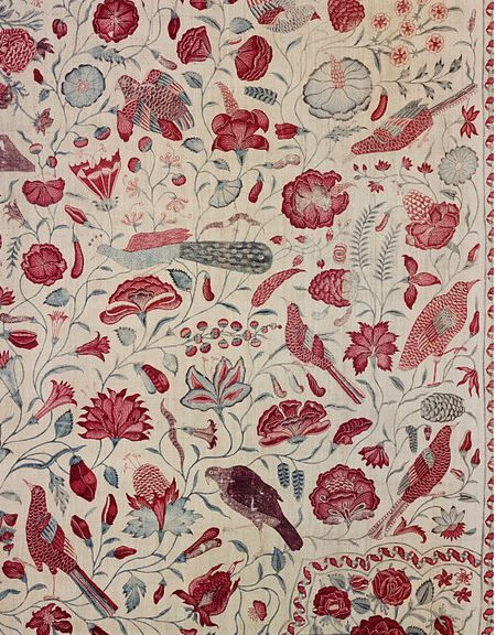 Palampore (hand-painted and mordant-dyed bed cover), Coromandel Coast, India, 1720-1750.