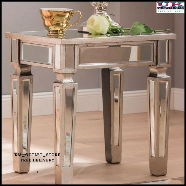 Contemporary Venetian Mirrored Glass Silver Lamp Table Home Bedside Sideboards  #SilverLampTableHomeBedsideSideboards #Contemporary