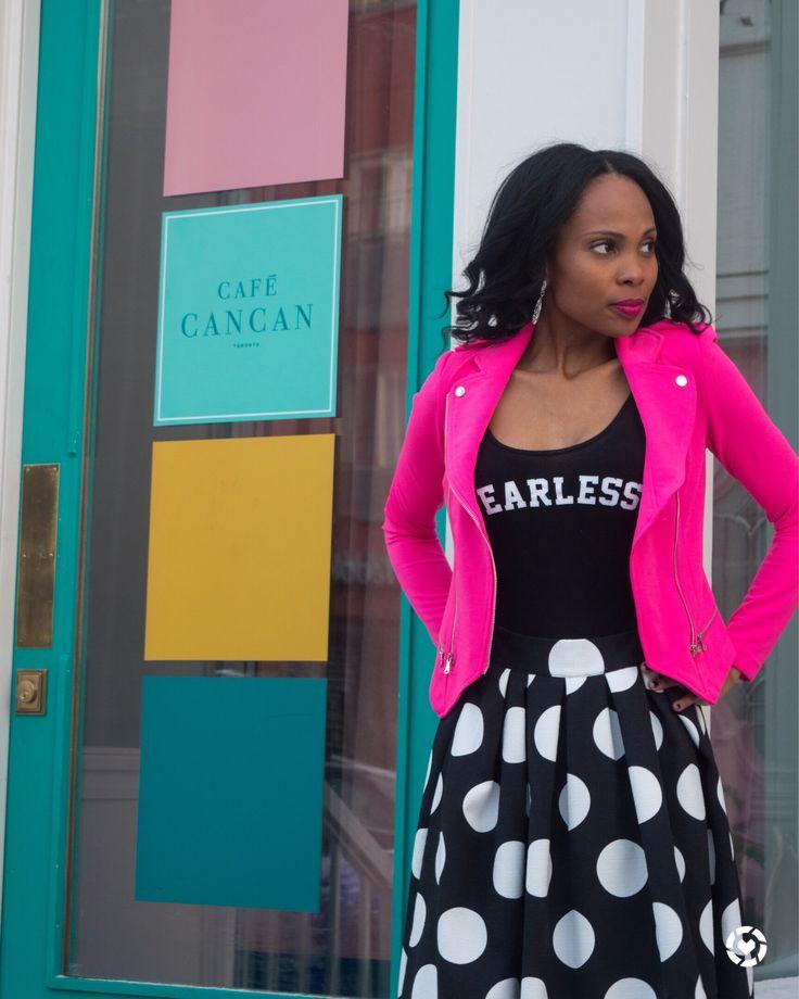 Moto Jacket/Polka dot skirt/moto jacket outfit dressy