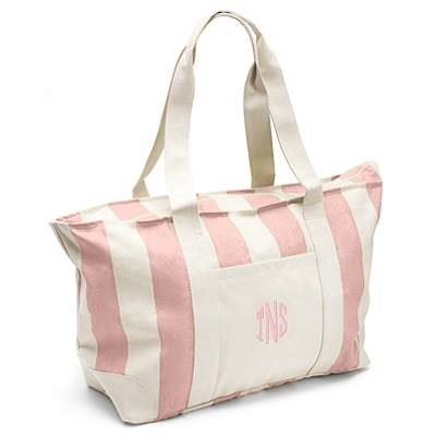 Pink Large Striped Canvas Tote- perfect for bridesmaids gifts or welcome bags.