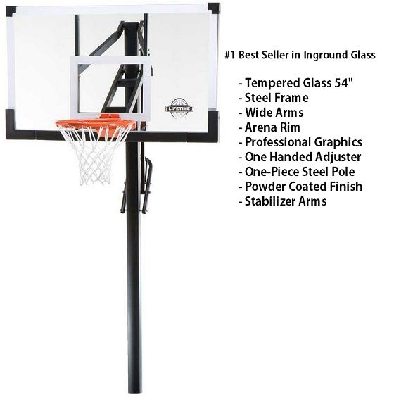 Lifetime In Ground Basketball Hoop 90014 Goal System 54 Inch Glass Backboard