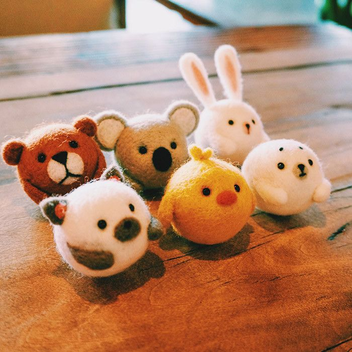 Handmade Needle felted felting kit project Woodland Animals cute for beginners s…