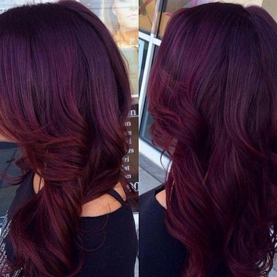 violeta rojo con el pelo rizado largo - Caoba Hair
