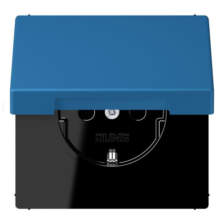 Jung LS990 wandcontactdoos klapdeksel LC1520KIKL 32030 bleu céruléen 31