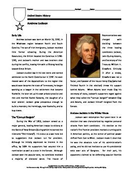 This short biography on Andrew Jackson focuses on his childhood and law studies, candidacy in the 1824 and 1828 presidential elections, and service as the seventh President of the United States.  Special attention is given to Jackson's role in vetoing the charter of the Second Bank of the United States, the Nullification Crisis of 1832, and removal of the Cherokee Indians from their lands in northern Georgia.