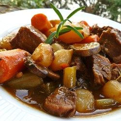Beef Stew VI - Allrecipes.com.  I would use olive oil instead of vegetable oil and almond meal instead of cornstarch.