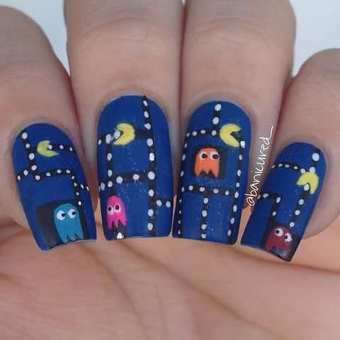 133 best gamer nail art images on pinterest minecraft nails pacman prinsesfo Image collections