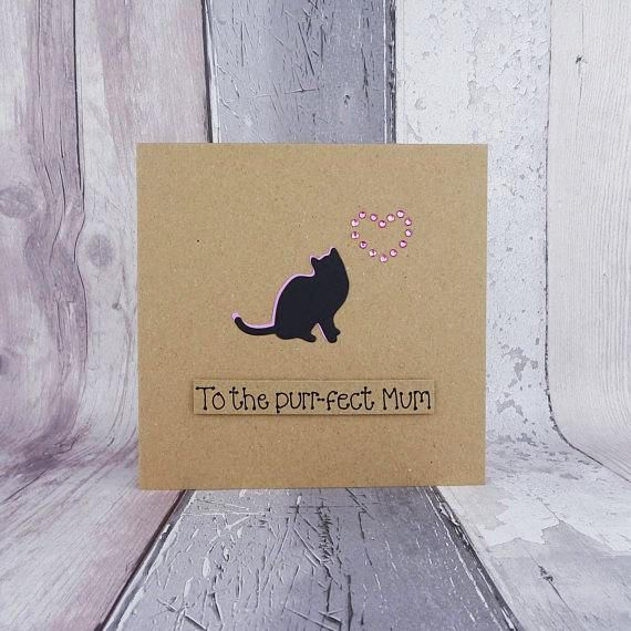 Birthday card for Mum with a cat silhouette and gem heart cat card for Mum / Mom.  This handmade cat card has a silhouette of a cat sitting happily with gems in the shape of a heart. The colour of the shadow of the cat and the gems can be selected from the drop-down menu on this pun card. The sentiment is added on this black cat card with 3D foam and reads: To the purr-fect Mum.  PERSONALISING YOUR CARD: You can choose the colour of the matching shadow and gems used to make the heart on ...