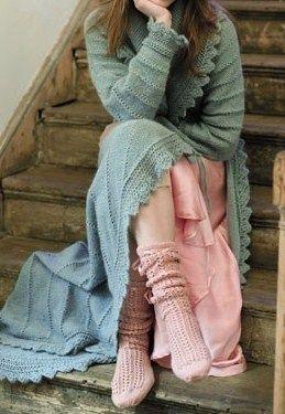<3 cozy knit robe & socks <3  (aka 'work clothes' around here)