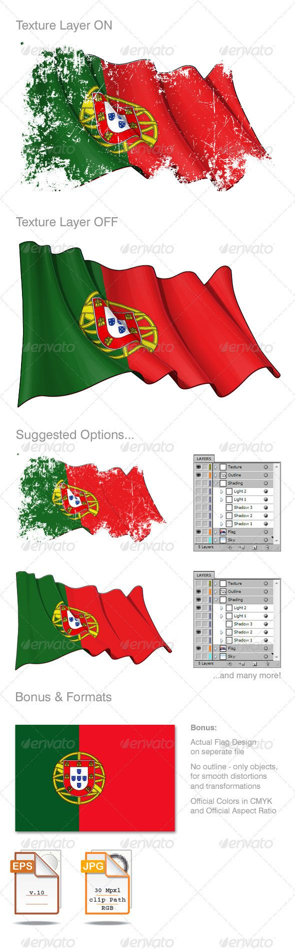 Red gift bows border with clipping path for easy background removing - Portugal Flag Grunge
