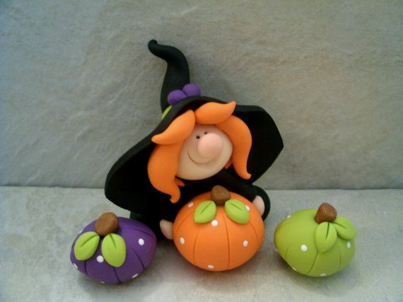 Witch and Polka Dot Pumpkins  Halloween by countrycupboardclay, $13.95