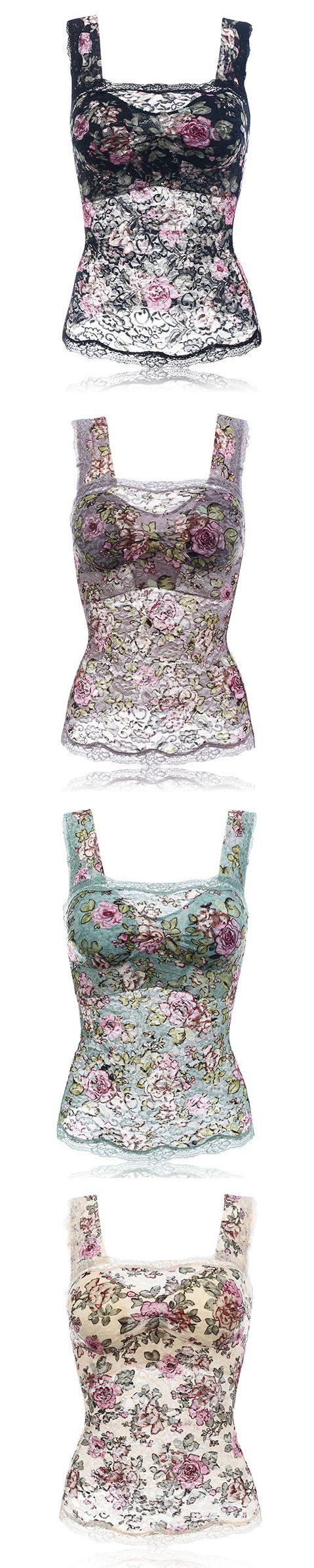 $ 16.96  Sexy Lace Hem No Rims Vest Bras Comfortable Floral Tank Top Bra