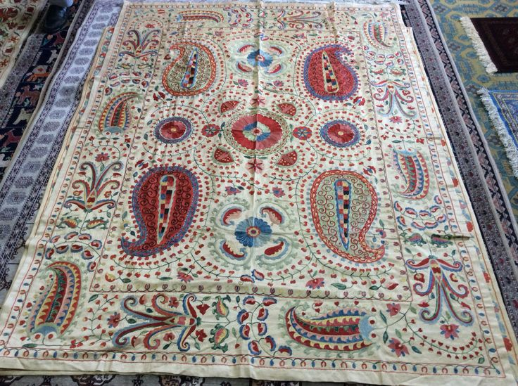 Pure silk embroidery on silk&cotton foundation,natural colors,totally hand made 220cmx160cm