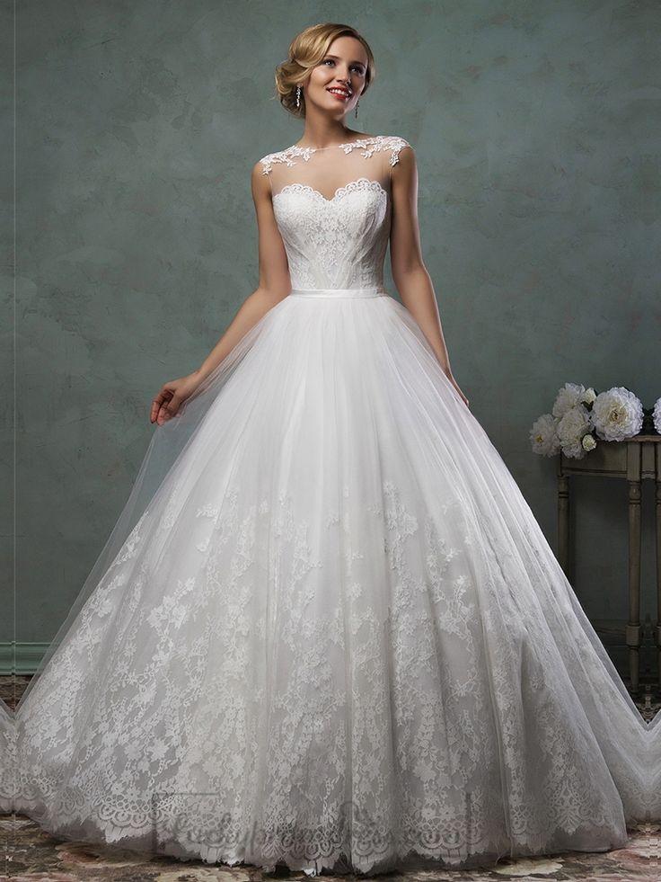 Sheer Neckline Lace Appliques A-line Wedding Dress