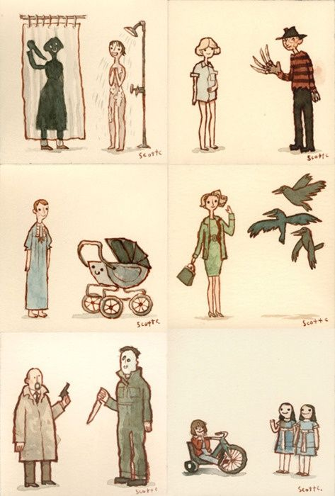 "Horror movie drawings - ""Psycho,"" ""Nightmare on Elm Street,"" ""Rosemary's Baby,"" ""The Birds,"" ""Halloween"" & ""The Shining"""