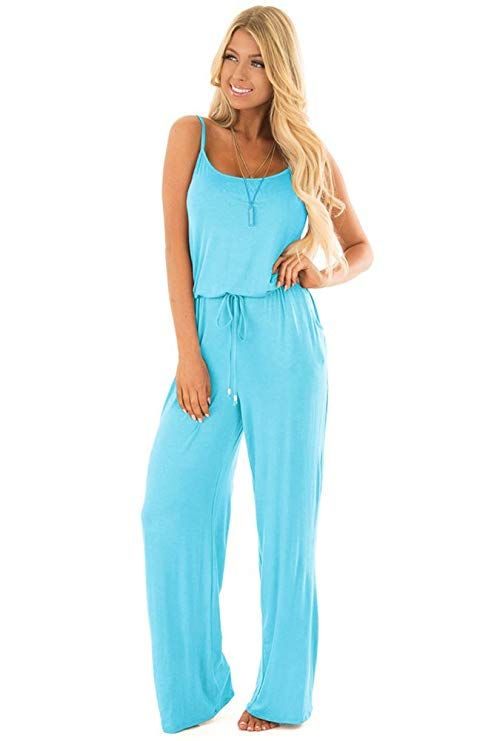 ca14f5969 Only $23 sullcom Women Summer Solid Sleeveless Wide Leg Jumpsuit Casual  Spaghetti Strap Stretchy Long Pant