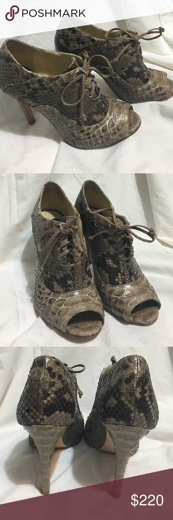 Alexandre Birman snakeskin booties Taupe python Alexandre Birman peep-toe lace-up booties. Size 5. Condition: Used but in good condition. Leather soles show some wear. Alexandre Birman Shoes Ankle Boots & Booties