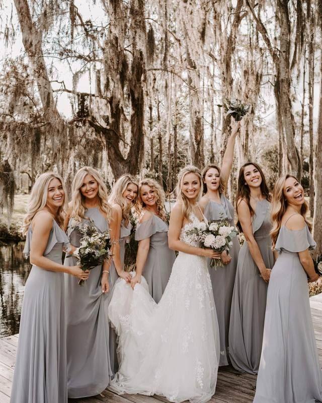 Real Birdy Grey Weddings | Birdy Grey mix-and-match silver bridesmaid  dresses in chiffon … | Silver bridesmaid dresses, Wedding bridesmaid dresses,  Grey bridesmaids