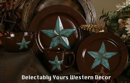 Western Star Service for 4 stoneware dinnerware set featuring hand painted turquoise stars on chocolate brown will be the highlight of your rustic table setting.  The easy care stoneware is dishwasher, oven and microwave safe.  Add one of the many matching accessories, charger plates, faux leather placemats or table runners to complete your rustic dining table at Delectably-Yours.com  #DelectablyYours Western Dinnerware and Home Decor