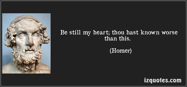 Be still my heart; thou hast known worse than this.  - Homer (900 BC-800 BC)