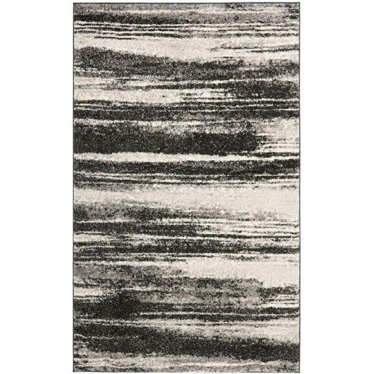 Retro Dark Grey/Light Grey 3 Ft. X 5 Ft. Area Rug, Dark Gray/Light Gray