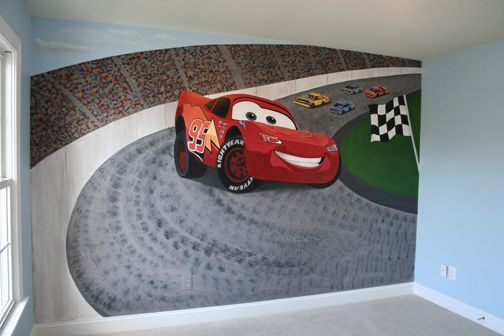 Cars Wall Mural. Cars Movie Mural Racetrack ... Part 39