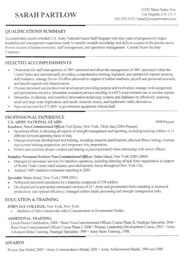 Example Of Military Resume Custom Resume Writers Resumewriting On Pinterest
