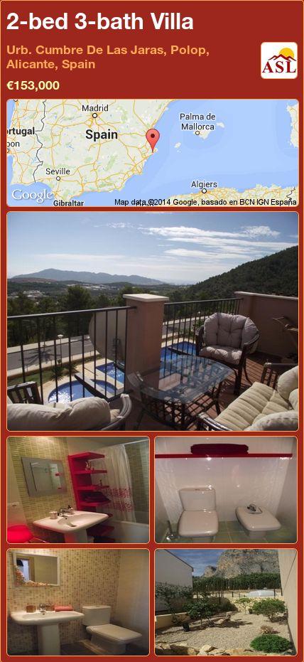 2-bed 3-bath Villa in Urb. Cumbre De Las Jaras, Polop, Alicante, Spain ►€153,000 #PropertyForSaleInSpain