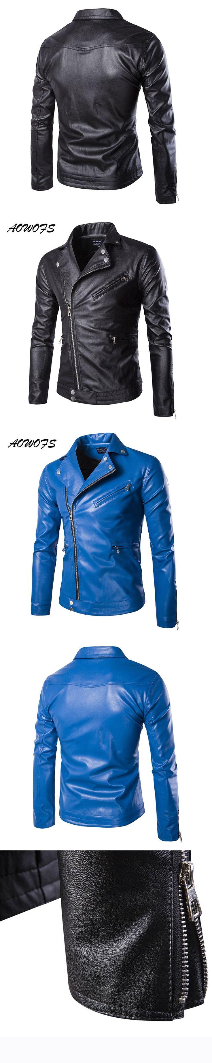 AOWOFS Mens Blue Leather Jackets Slim Fit Leather Blouson Jacket Coats Designer Punk Leather Biker Jackets for Men Spring 5XL