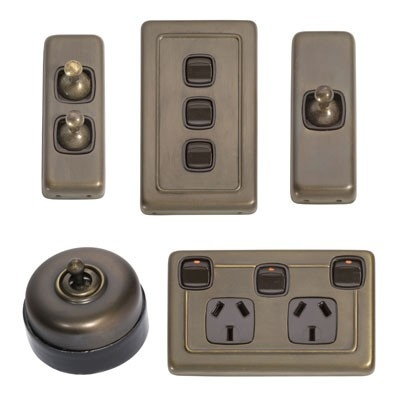 Antique Brass Light Switches & Electrical Power Points - Antique Brass Switch Range #porcelain #toggle #rocker #light #switch #brass #hpm #powerpoint