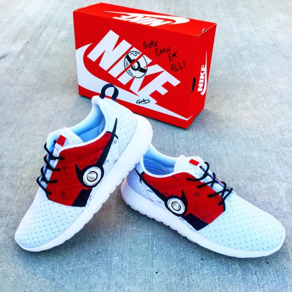 Pokemon Go Hand painted NIKE roshe by ArtOfTheSole on Etsy