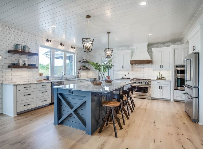 Stationary island. Farmhouse kitchen with x side island and ...