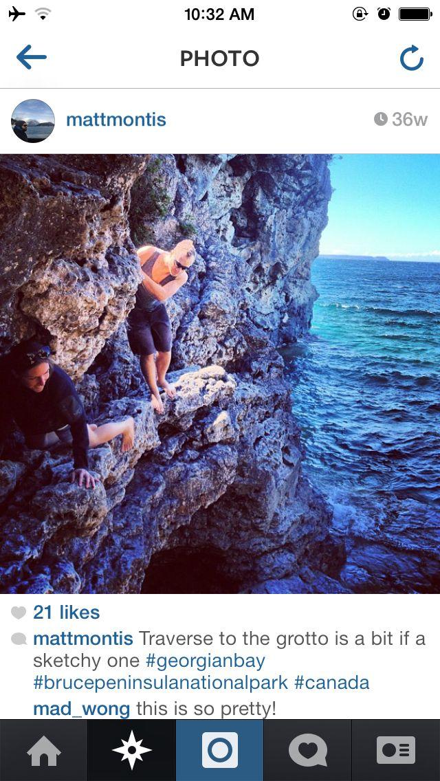 Grotto cliff climbing