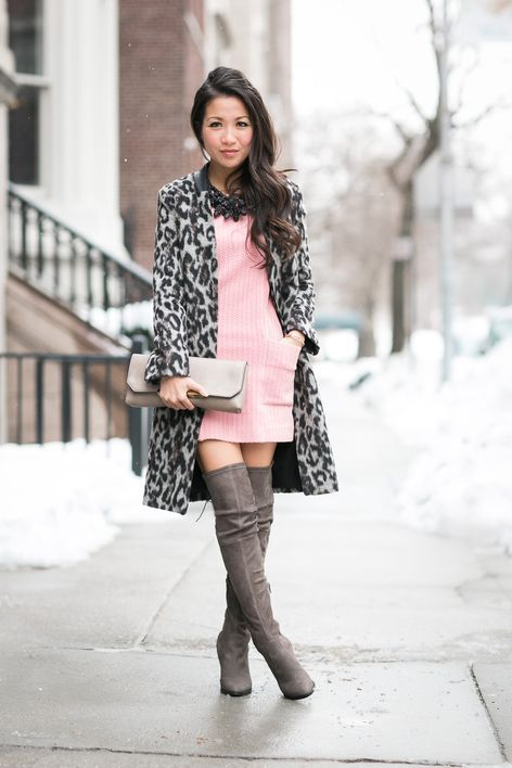 Shop this look for $157:  http://lookastic.com/women/looks/overcoat-and-casual-dress-and-statement-necklace-and-over-the-knee-boots-and-clutch/1219  — Grey Leopard Overcoat  — Pink Knit Casual Dress  — Black Statement Necklace  — Grey Suede Over The Knee Boots  — Grey Leather Clutch