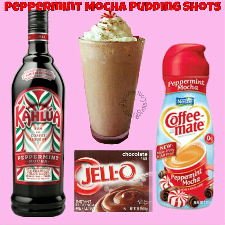 Peppermint Mocha Pudding Shots -  See full recipe, register, save your favorites, search recipes and much more at http://mypuddingshots.com/recipe/peppermint-mocha-pudding-shots/