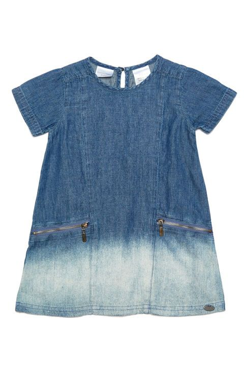 10 Best Kardashian Kids Clothing of 2016-Kids Clothes From the Kardashian Collection-Kardashian Kids Girls Denim Shift Dress-$30, lordandtaylor.com Classic chambray gets updated with a dip-dyed effect, taking this denim dress from basic to bold. We bet this look was inspired by Khloe's own ombre hair color she wore for years before she famously cut short her long locks last October. Front pockets with exposed zippers add even more edge to this birthday party-ready frock. Visit redbookmag.com…