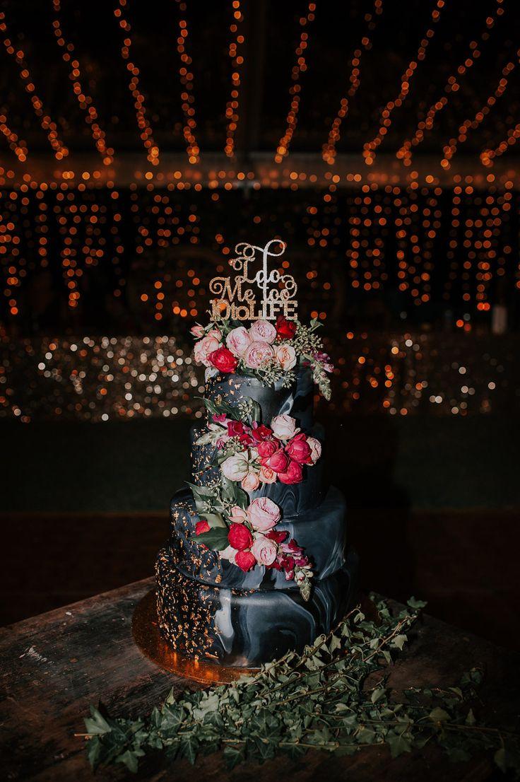 marble wedding cake with fresh flowers