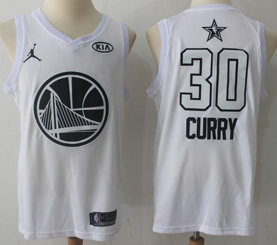 reputable site db1e5 2d2e4 Men 2018 All Star Stephen Curry Jersey White Golden State ...