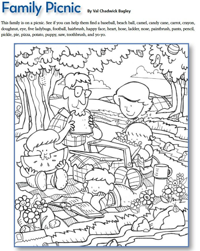LDS Games - Find and Color - Family Picnic